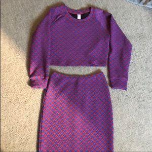 American Apparel Other - Long sleeve crop & skirt set